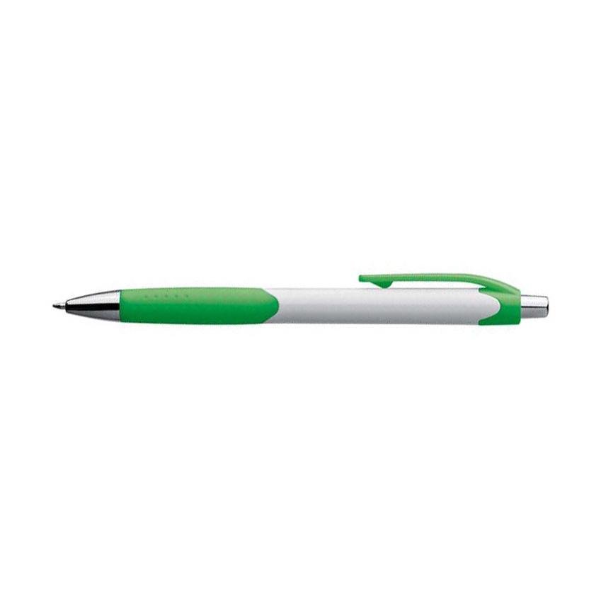 Zelené plastové kuličkové pero s bílým držátkem a gumovým uchopením