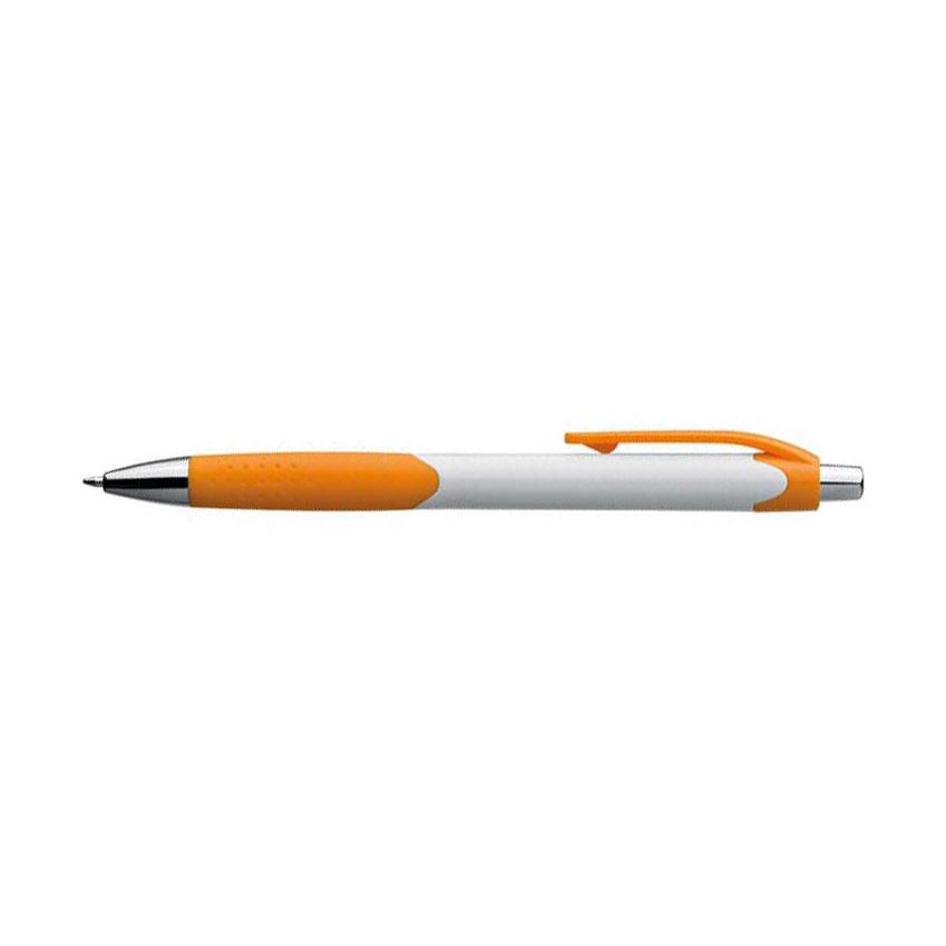 Oranžové plastové kuličkové pero s bílým držátkem a gumovým uchopením s potiskem