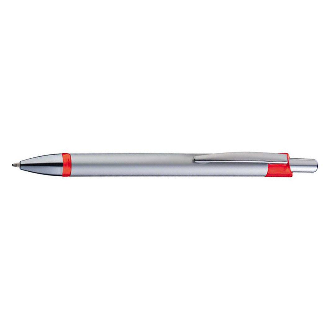 Plastové červené kuličkové pero pochromované aplikace