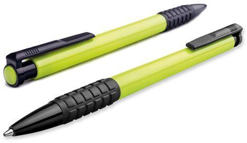 CORIA plastové kuličkové pero, modrá náplň, reflexní zelená