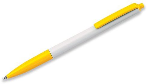 SIMPLY plastové kuličkové pero, modrá náplň, žlutá s potiskem