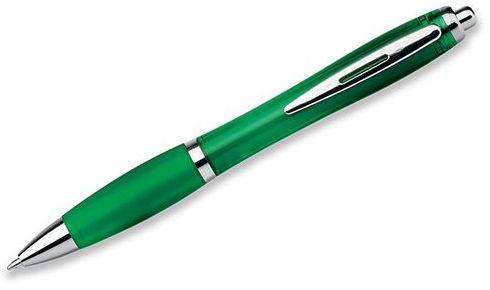 DOLPH plastové kuličkové pero, modrá náplň, transp., frosty zelená