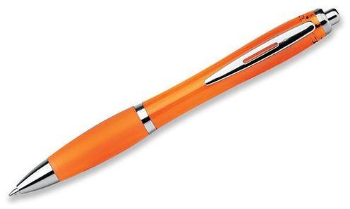 DOLPH plastové kuličkové pero, modrá náplň, transp., frosty oranžová
