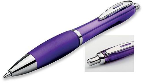 DOLPH plastové kuličkové pero, modrá náplň, transp., frosty fialalová
