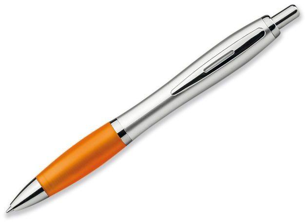 CHUCK SILVER plastové kuličkové pero, modrá náplň, transp., frosty oranžová