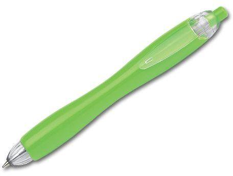 CARIN plastové kuličkové pero, modrá náplň, reflexní zelená