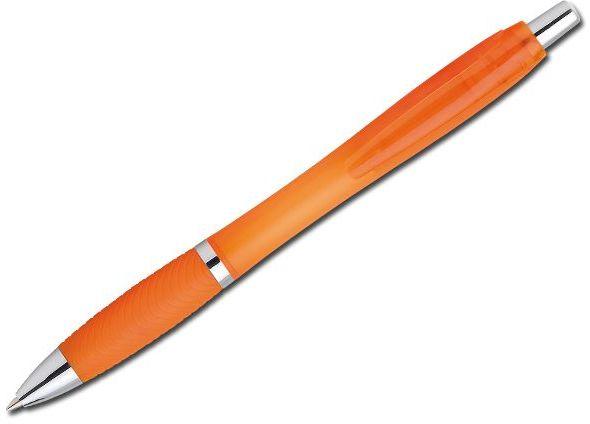 DARBY FROSTY plastové kuličkové pero, modrá náplň, transp., frosty oranžová s potiskem