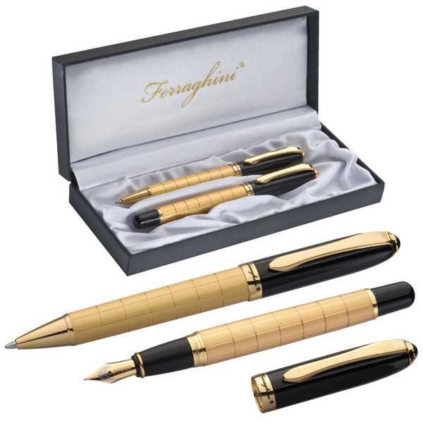 Ferraghini psací souprava s kuličkovým perem a plnícím perem, ve zlaté barvě v dárkové krabičce