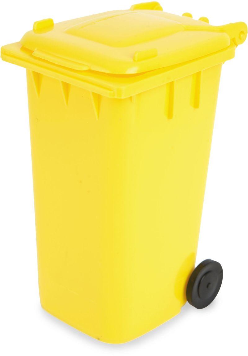 Žlutý stojan na psací potřeby ve tvaru popelnice