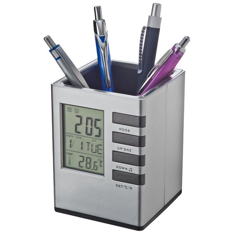 Stojánek na tužky s hodinami