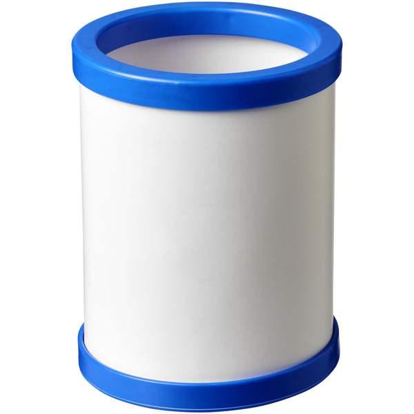 Kulatý kartonový hrnek na pera s plastovou obrubou Deva