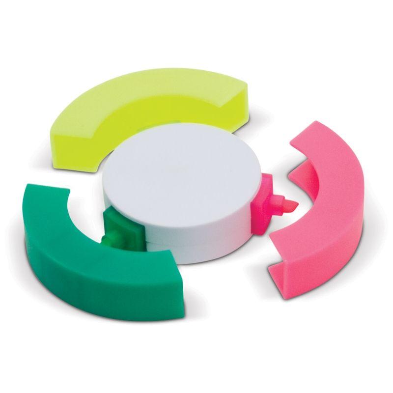 Zvýrazňovač ve tvaru puku, růžová, zelená, žlutá