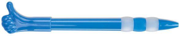 Modré plastové kuličkové pero s klipem ve tvaru prstu