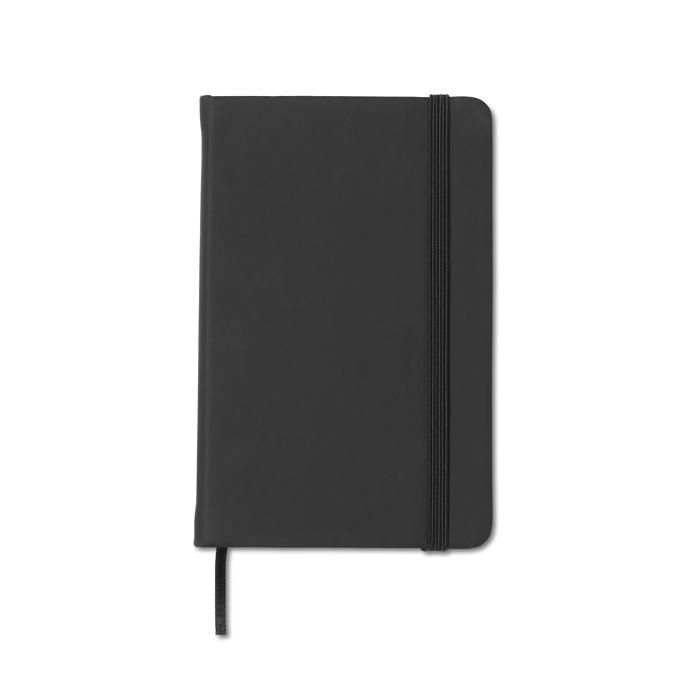 Zápisník s černým elastickým uzávěrem s potiskem