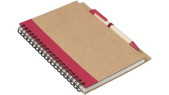 Recyklovaný poznámkový blok s červeným perem