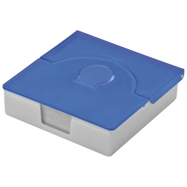 Modrá plastová krabička s poznámkovým bločkem a pořadaček na vizitky s potiskem