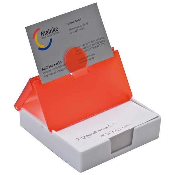 Červená plastová krabička s poznámkovým bločkem a pořadaček na vizitky