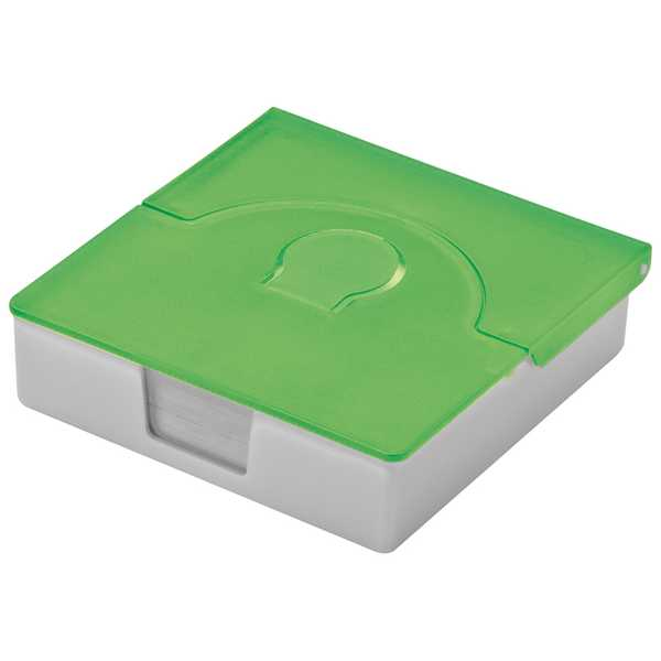 Zelená plastová krabička s poznámkovým bločkem a pořadaček na vizitky s potiskem