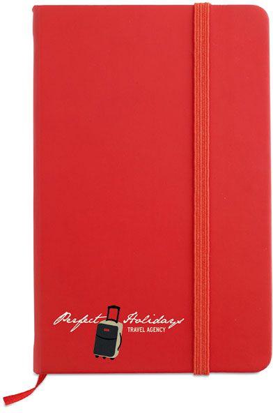 Zápisník s červeným uzavíráním na gumičku