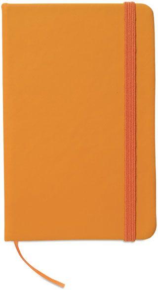 Zápisník s oranžovým uzavíráním na gumičku