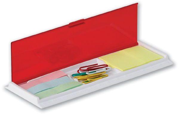 HAGRID víceúčelová kancelářská sada v plastovém pouzdře s pravítkem, transp., frosty červená s potiskem