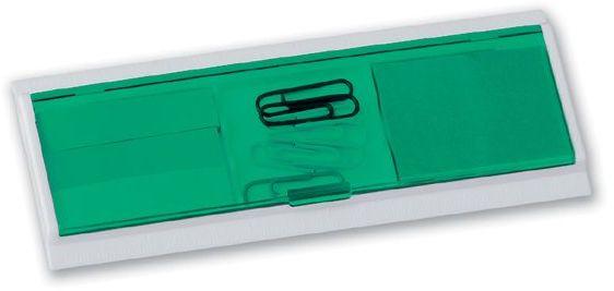 HAGRID víceúčelová kancelářská sada v plastovém pouzdře s pravítkem, transp., frosty zelelená