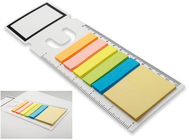 GARAN plastová záložka s funkcí pravítka s barevnými lepicími papírky, bílá