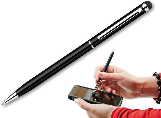 SLIM TOUCH kovové kuličkové pero s funkcí touch pen, modrá náplň, černá