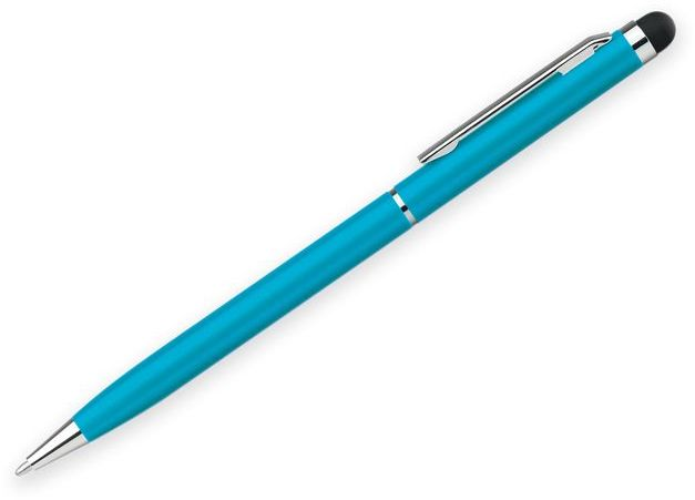 SLIM TOUCH kovové kuličkové pero s funkcí touch pen, modrá náplň, světle modrá