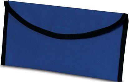 Modrá taška na dokumenty připevnitelná k opasku