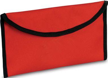 Červená taška na dokumenty na cestování