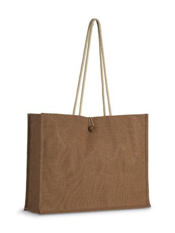 Jutová nákupní taška s dřevěným knoflíkem