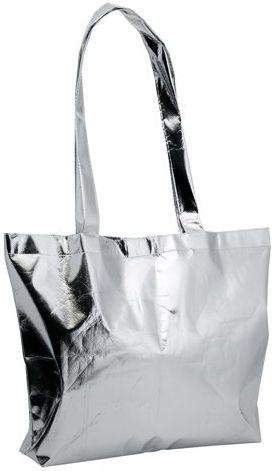 Stříbrná lesklá plážová taška