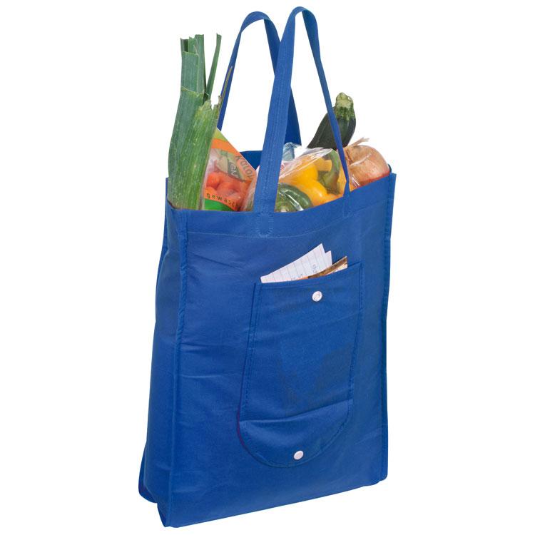 Modrá skládací nákupní taška z netkané textilie
