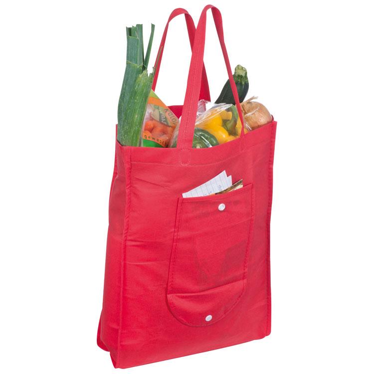 Červená skládací nákupní taška z netkané textilie