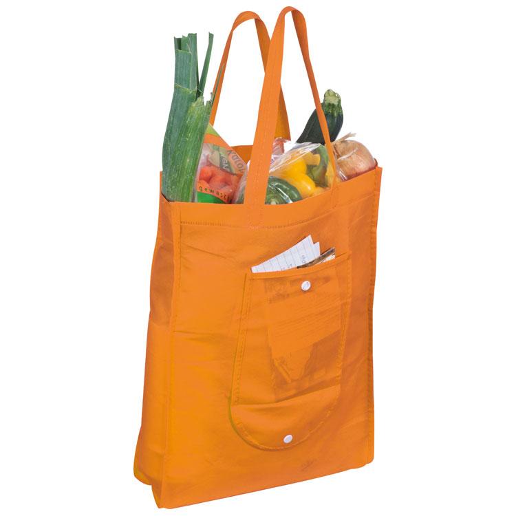 Oranžová skládací nákupní taška z netkané textilie
