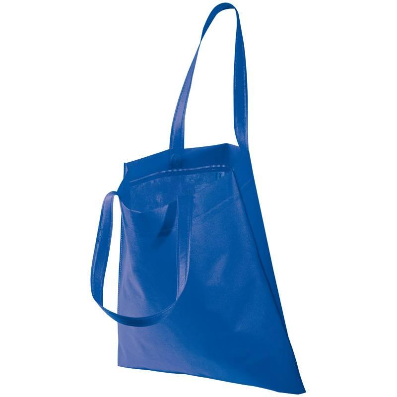 Modrá netkaná taška s dlouhými uchy s potiskem