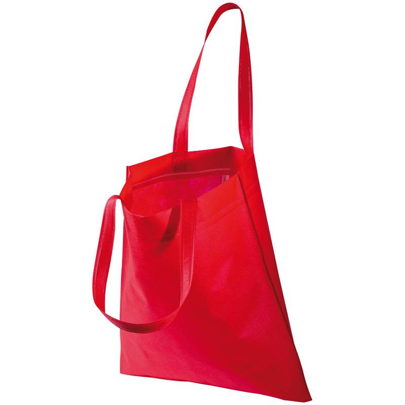 Červená netkaná taška s dlouhými uchy