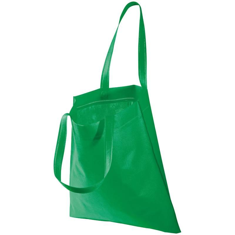 Zelená netkaná taška s dlouhými uchy