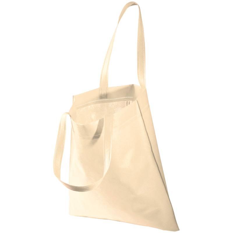 Béžová netkaná taška s dlouhými uchy