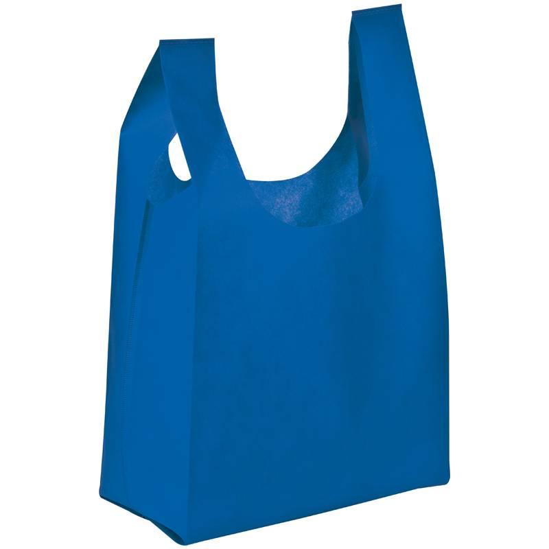 Netkaná taška s dlouhými uchy modrá s potiskem