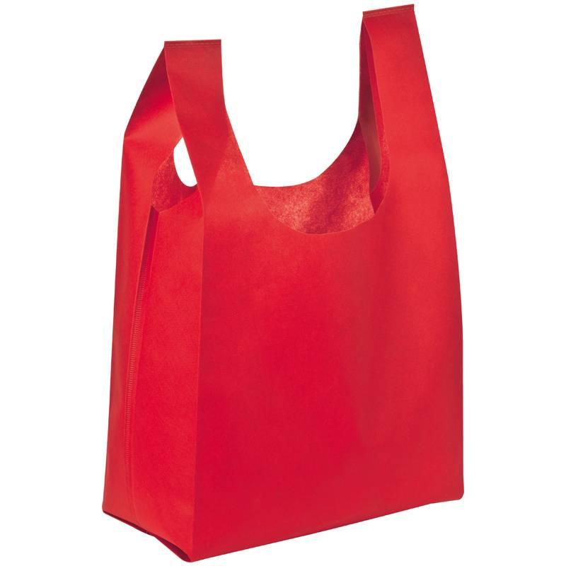 Netkaná taška s dlouhými uchy červená