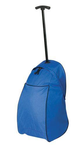 Modrá taška na kolečkách s potiskem