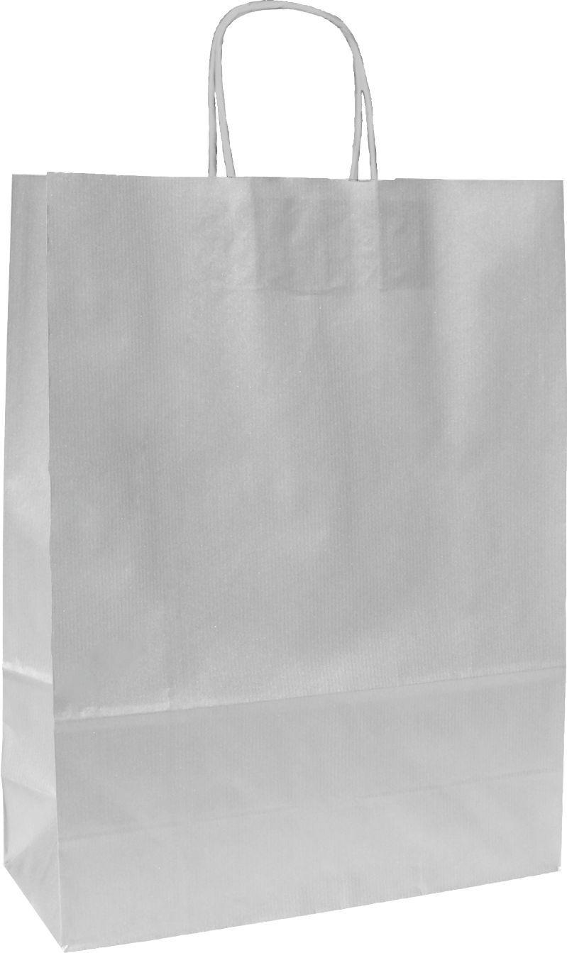 Stříbrná papírová taška se stříbrnými uchy 23x10x32 cm