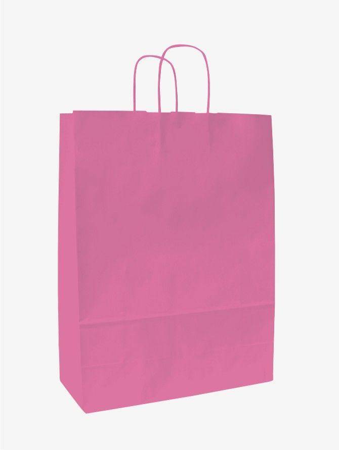 Růžová papírová taška 32x13x42 cm