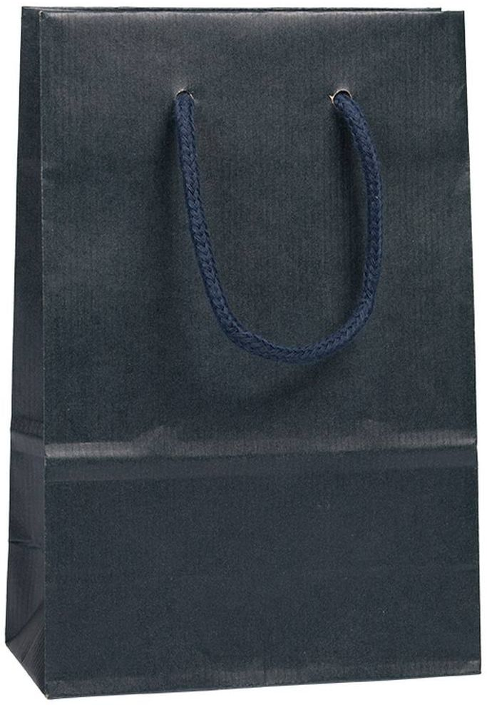 Tmavě modrá taška s textilními uchy 16x8x24 cm