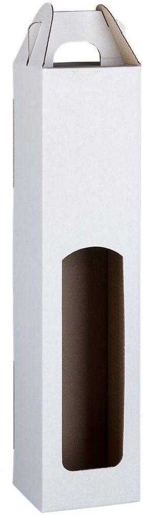 Bílá kartonová krabice na 1 láhev 8x8x31 cm