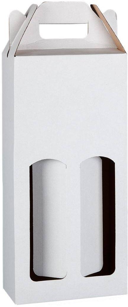 Bílá kartonová krabice na 2 láhve 16,5x8x34,5 cm