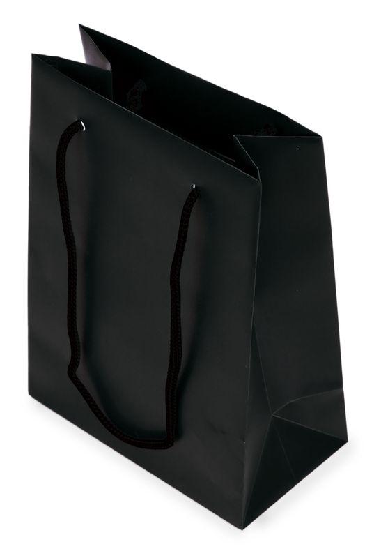 Dárková taška PVC černá 12x16x6,5 cm