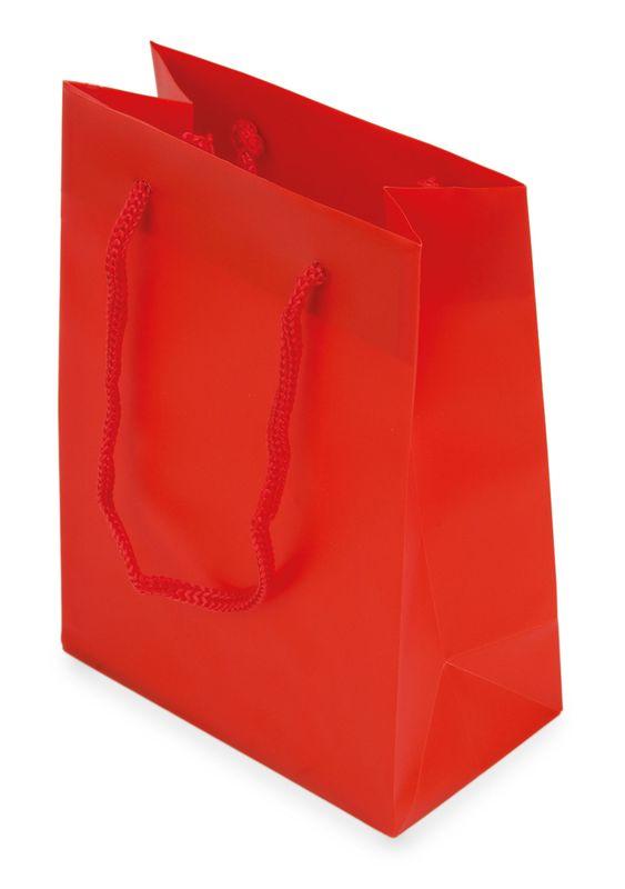 Dárková taška PVC červená 12x16x6,5 cm